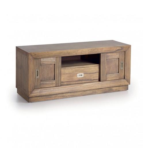 meuble tele en bois - banc tv marron avec rangements