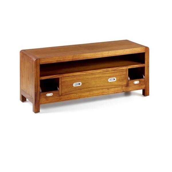Meuble t l marron meuble tele salon for Meuble de rangement tv