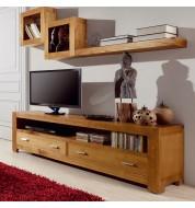 Meuble tv bois 2 tiroirs