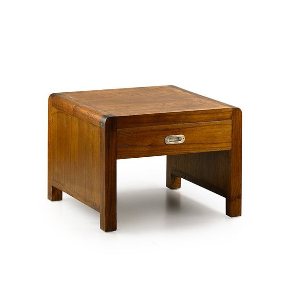 Table basse marron en bois table basse carr e tiroirs - Table basse carree en bois ...