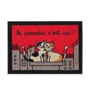 Tapis d'entrée rouge chat Paradis Derrière la porte