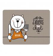 """Support gamelle chat """"J'adore"""" gris Derrière la porte"""