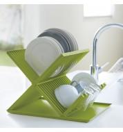 Egouttoir vaisselle vert deux niveaux Yamazaki