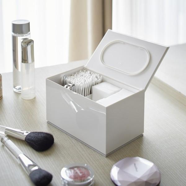 Rangement maquillage boite coton et coton tiges blanche - Boite a maquillage rangement ...