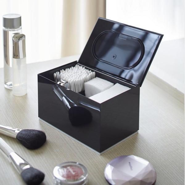 Boite cotons d maquillant noire boite maquillage design - Boite de rangement pour maquillage ...