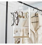 Porte bijoux cintre blanc et bois Yamazaki