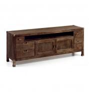 Meuble TV bois 6 tiroirs + étagères