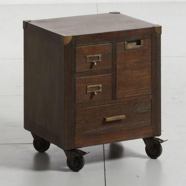 Table de chevet en bois table pour chambre for Chevet mural avec tiroir