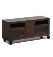 Meuble TV en bois avec roulettes