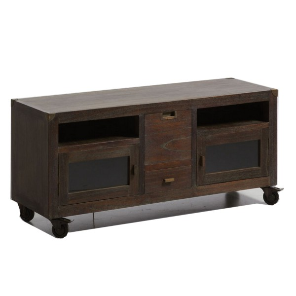 meuble tv avec roulette meuble t l en bois. Black Bedroom Furniture Sets. Home Design Ideas