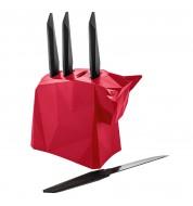 Bloc avec couteaux à steak (x4) Pablo rouge Koziol