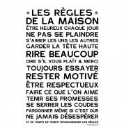 Sticker mural Regles maison blanc
