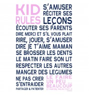 Sticker enfant Kid rules fille rose