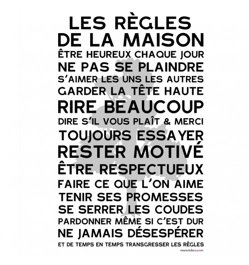 Affiche vintage mes mots d co affiche poster - Cadre les regles de la maison ...