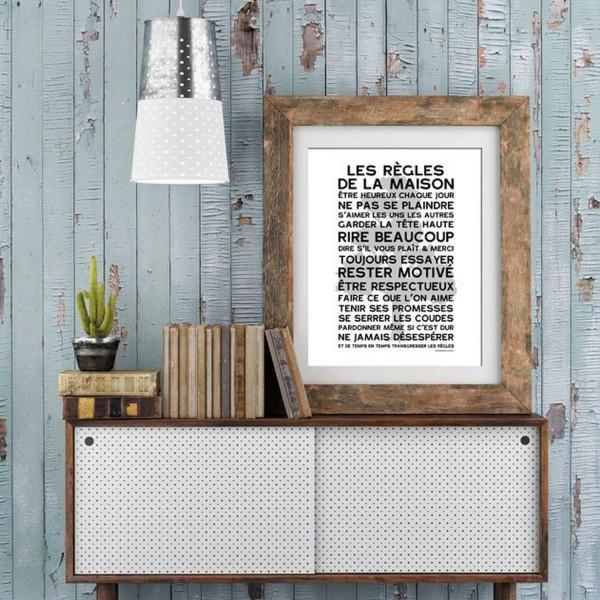 Affiche vintage mes mots d co affiche poster - Poster les regles de la maison ...