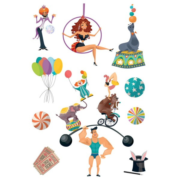 Stickers enfant cirque d coration murale cas lio - Stickers muraux decollable ...