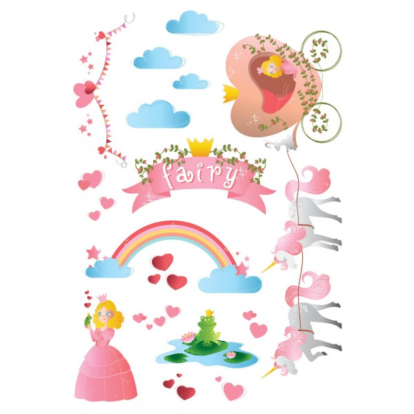 Sticker chambre fille sticker mural princesse - Stickers muraux decollable ...