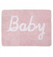 Tapis chambre bébé lavable rose