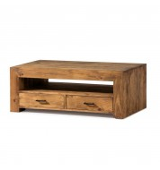 Table basse tiroirs en pin massif Myoc