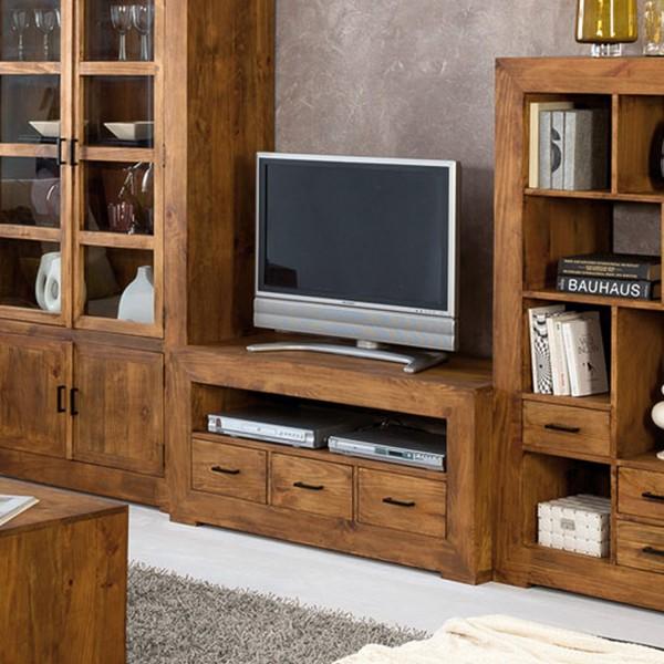 Meuble tv pin massif sous plateau et 3 tiroirs myoc for Meuble tv pin