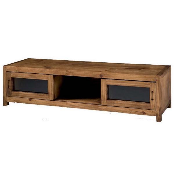 meuble tv pin massif 1 espace de rangement et 2 portes myoc. Black Bedroom Furniture Sets. Home Design Ideas