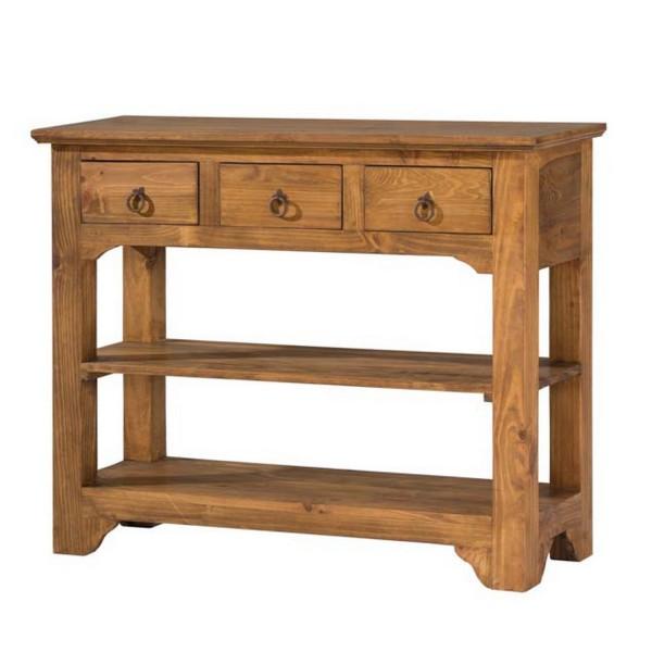 console en pin massif 3 tiroirs 2 tag res myoc. Black Bedroom Furniture Sets. Home Design Ideas
