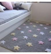 Tapis enfant lavable gris multicolore étoile Lorena Canals