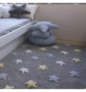 Tapis enfant lavable multicolore gris étoile Lorena Canals
