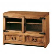Meuble tv 2 tiroirs 2 portes en verre Myoc