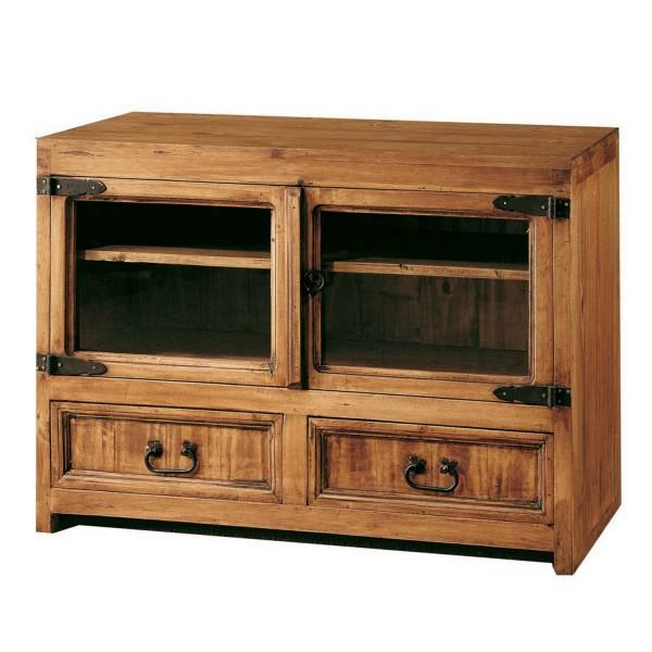 meuble tv 2 tiroirs et 2 portes en verre marque myoc. Black Bedroom Furniture Sets. Home Design Ideas