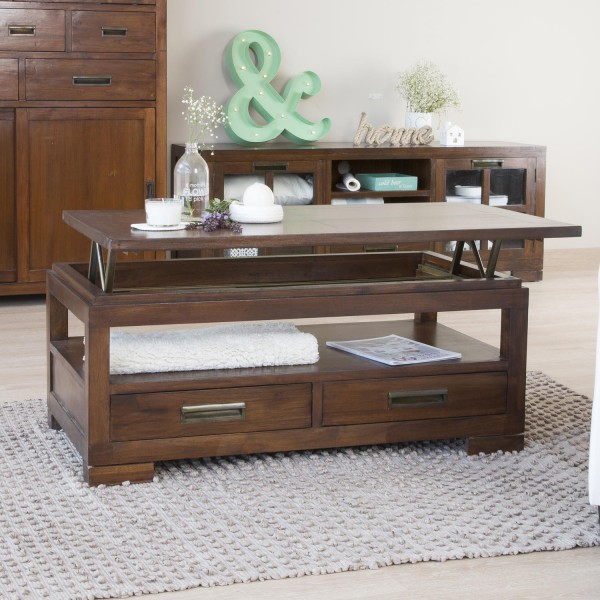 table basse relevable bois massif kenia marque banak importa. Black Bedroom Furniture Sets. Home Design Ideas