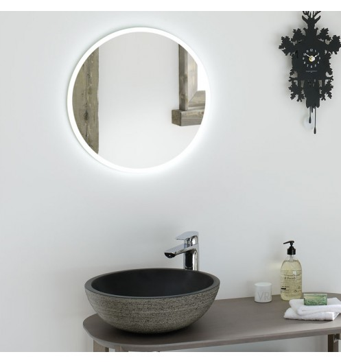 miroir salle de bain rond r tro clairage. Black Bedroom Furniture Sets. Home Design Ideas