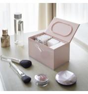 Boite rangement maquillage cotons rose Yamazaki