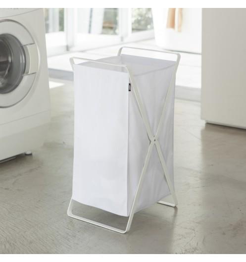 panier linge pliable en tissu blanc rangement linge sale yamazaki. Black Bedroom Furniture Sets. Home Design Ideas