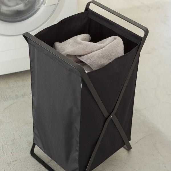 panier 224 linge design noir en tissu rangement salle de bain yamazaki