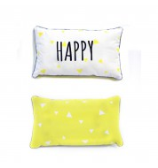 "Coussin rectangle jaune et blanc ""happy"""