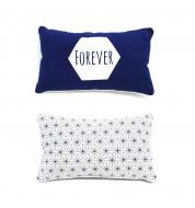 """Coussin rectangle """"forever"""" bleu et blanc"""