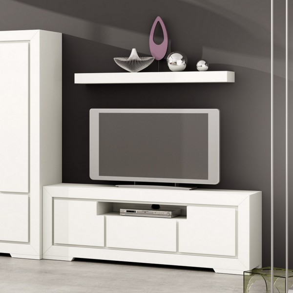 meuble tv blanc loft banak importa. Black Bedroom Furniture Sets. Home Design Ideas