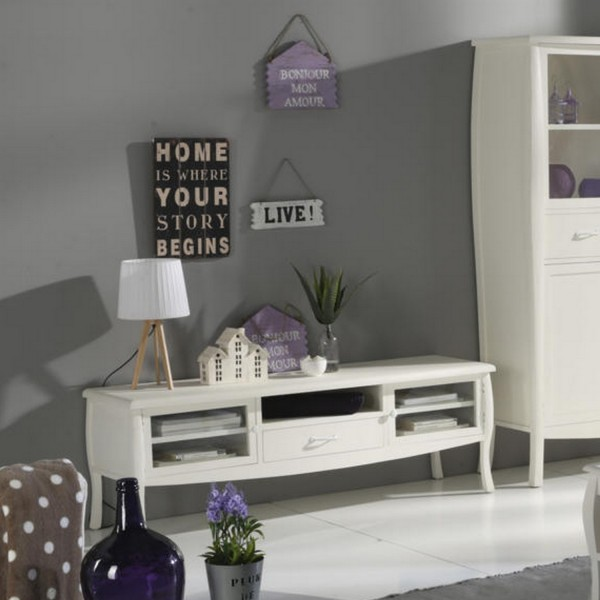 Meuble tv blanc nimes meuble tele banak importa for Muebles estilo banak