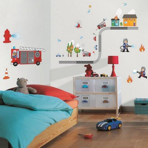 sticker enfant pompier stickers chambre enfant d coration caselio. Black Bedroom Furniture Sets. Home Design Ideas