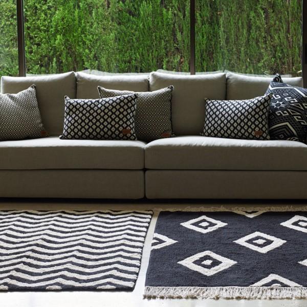 Tapis de salon noir et blanc tapis design lavable en machine - Tapis salon noir et blanc ...