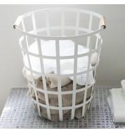 Panier à linge design blanc Toswa