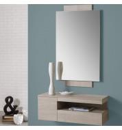 Meuble d'entrée design avec miroir bois mélaminé
