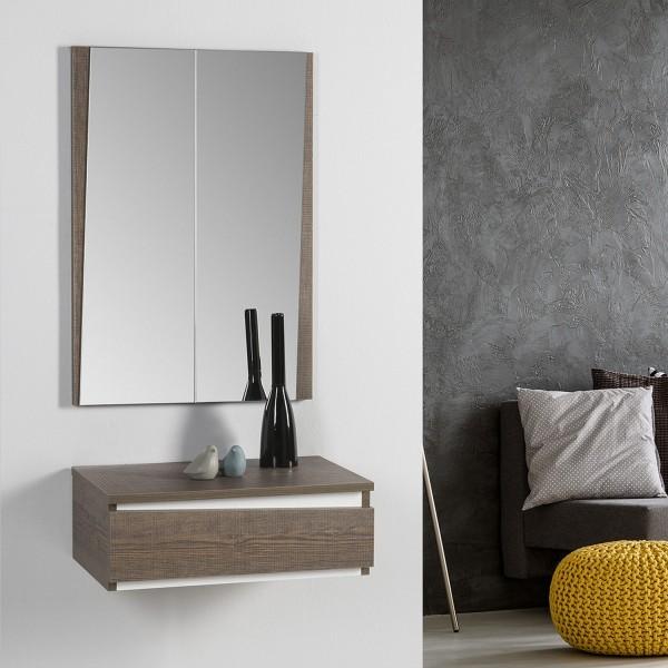 meuble d 39 entr e avec miroir console entr e en bois m lamin. Black Bedroom Furniture Sets. Home Design Ideas