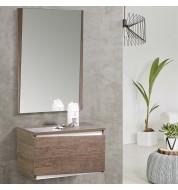 Ensemble entrée console + miroir bois mélaminé naturel