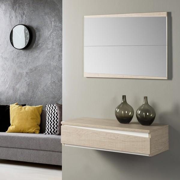 Meuble entr e 90 cm meuble console avec miroir design - Meuble d entree miroir ...
