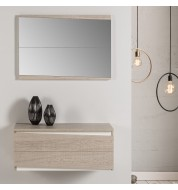 Meuble d'entrée double tiroir avec miroir