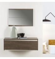 Meuble d'entrée 2 tiroirs + miroir bois naturel