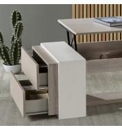 Table basse relevable design avec 2 tiroirs