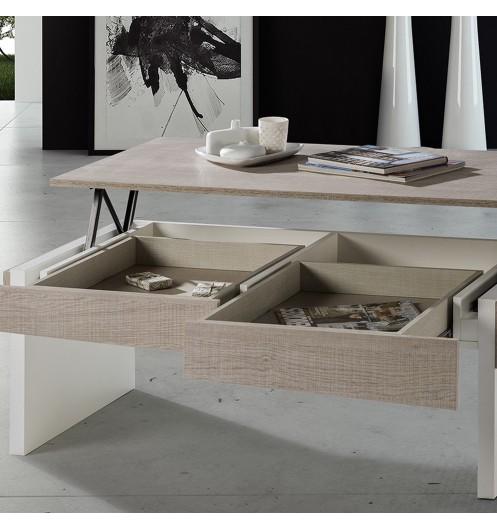 Table Basse Relevable Blanche Et Bois